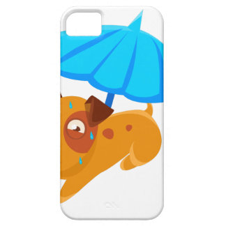 Puppy Sweating Under Umbrella On The Beach iPhone 5 Cover