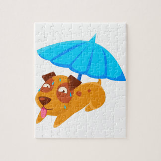 Puppy Sweating Under Umbrella On The Beach Jigsaw Puzzle