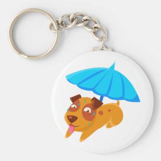 Puppy Sweating Under Umbrella On The Beach Keychain