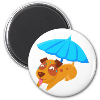 Puppy Sweating Under Umbrella On The Beach Magnet