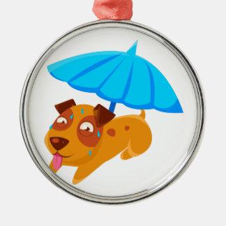 Puppy Sweating Under Umbrella On The Beach Metal Ornament