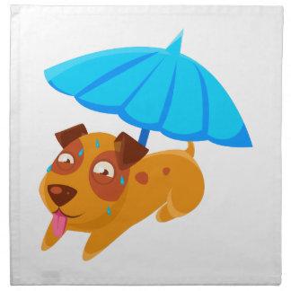Puppy Sweating Under Umbrella On The Beach Napkin