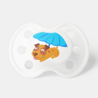 Puppy Sweating Under Umbrella On The Beach Pacifier