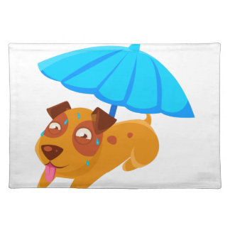 Puppy Sweating Under Umbrella On The Beach Placemat
