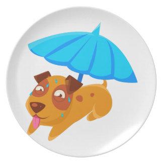 Puppy Sweating Under Umbrella On The Beach Plate