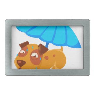 Puppy Sweating Under Umbrella On The Beach Rectangular Belt Buckles