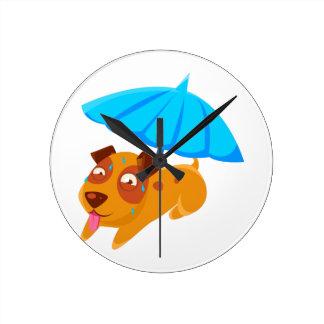 Puppy Sweating Under Umbrella On The Beach Round Clock
