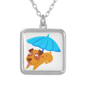 Puppy Sweating Under Umbrella On The Beach Silver Plated Necklace