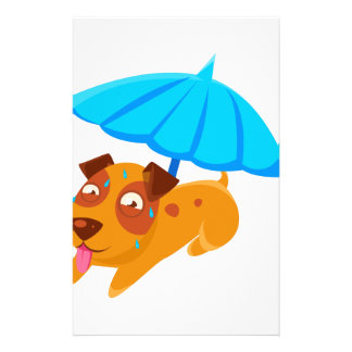 Puppy Sweating Under Umbrella On The Beach Stationery