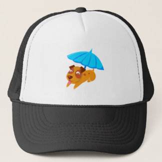Puppy Sweating Under Umbrella On The Beach Trucker Hat