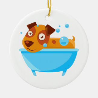 Puppy Taking A Bubble Bath In  Tub Ceramic Ornament