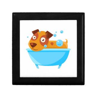 Puppy Taking A Bubble Bath In  Tub Gift Box
