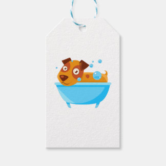 Puppy Taking A Bubble Bath In  Tub Gift Tags