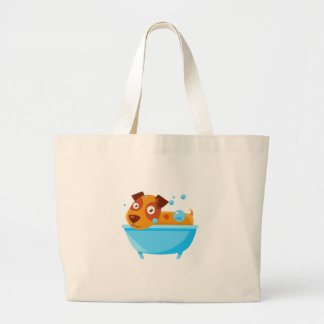 Puppy Taking A Bubble Bath In  Tub Large Tote Bag