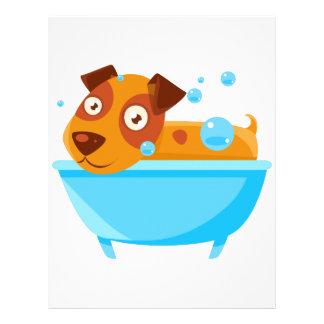 Puppy Taking A Bubble Bath In  Tub Letterhead