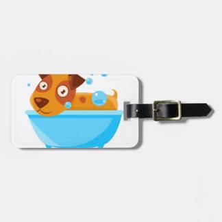 Puppy Taking A Bubble Bath In  Tub Luggage Tag
