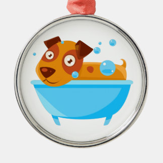 Puppy Taking A Bubble Bath In  Tub Metal Ornament