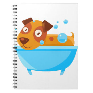Puppy Taking A Bubble Bath In  Tub Notebook