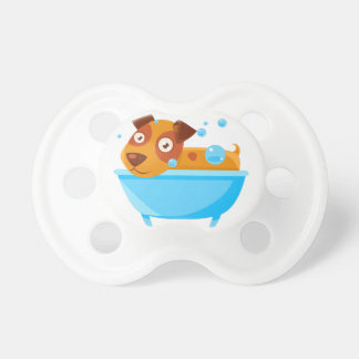 Puppy Taking A Bubble Bath In  Tub Pacifier
