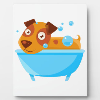 Puppy Taking A Bubble Bath In  Tub Plaque