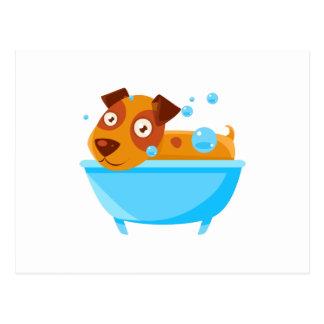 Puppy Taking A Bubble Bath In  Tub Postcard