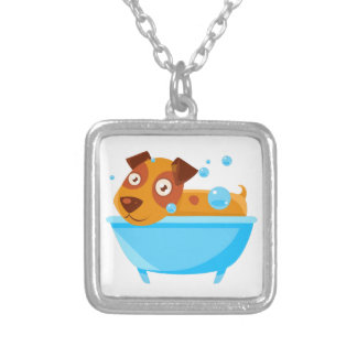 Puppy Taking A Bubble Bath In  Tub Silver Plated Necklace