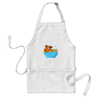 Puppy Taking A Bubble Bath In  Tub Standard Apron