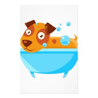 Puppy Taking A Bubble Bath In  Tub Stationery