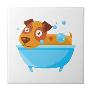 Puppy Taking A Bubble Bath In  Tub Tile
