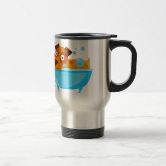 Puppy Taking A Bubble Bath In  Tub Travel Mug