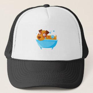 Puppy Taking A Bubble Bath In  Tub Trucker Hat
