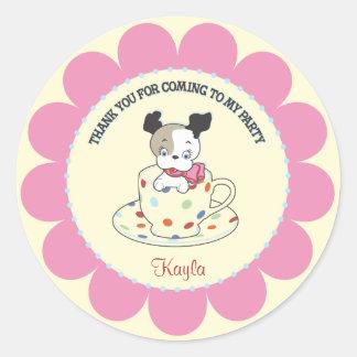 Puppy Tea Party  |  Retro Favor Stickers