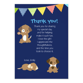Puppy Thank You Card Note Pawty