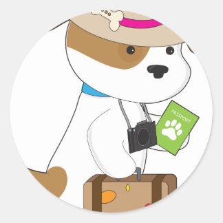 Puppy Travel Round Sticker