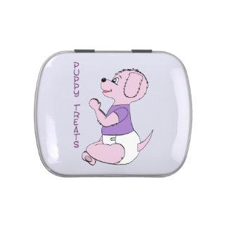 Puppy Treats Pink Babyfur Tin Jelly Belly Tin