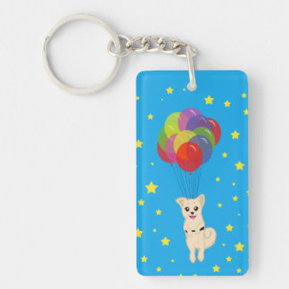 Puppy with Balloons Keychain
