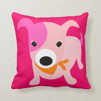 Puppy with Bandana pink & red Throw Pillow