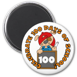 Puppy with Chalk 100 Days of School Magnets