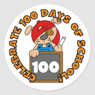 Puppy with Chalk 100 Days of School Stickers