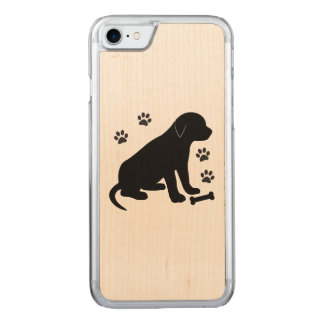 Puppy with Paw Prints and Bone Carved iPhone 7 Case