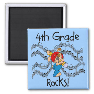 Puppy With Pencil 4th  Grade Rocks Square Magnet