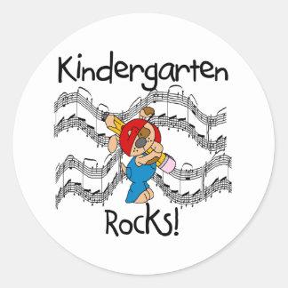 Puppy with Pencil Kindergarten Rocks Round Sticker