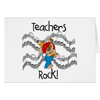 Puppy with Pencil Teachers Rock Greeting Card