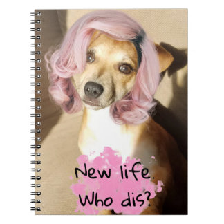 Puppy with pink hair funny notebook