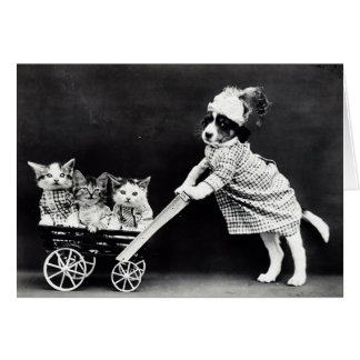 Puppy with Three Kittens in a Carriage Card