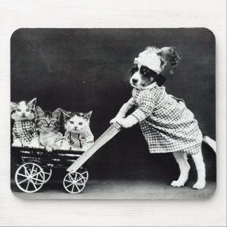 Puppy with Three Kittens in a Carriage Mouse Pad