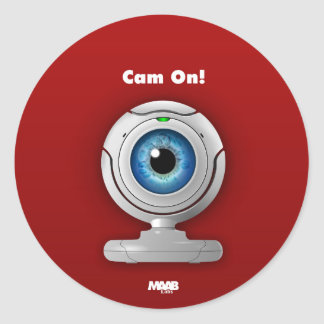 Puppyeye webcam round sticker