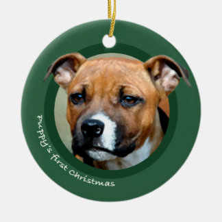 Puppy's First Christmas (American Staffordshire) Round Ceramic Ornament
