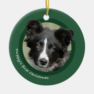 Puppy's First Christmas (Border Collie) Ceramic Ornament