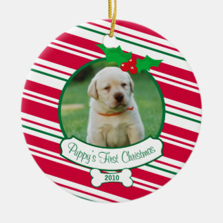 Puppy's First Christmas - Candy Cane Round Ceramic Ornament